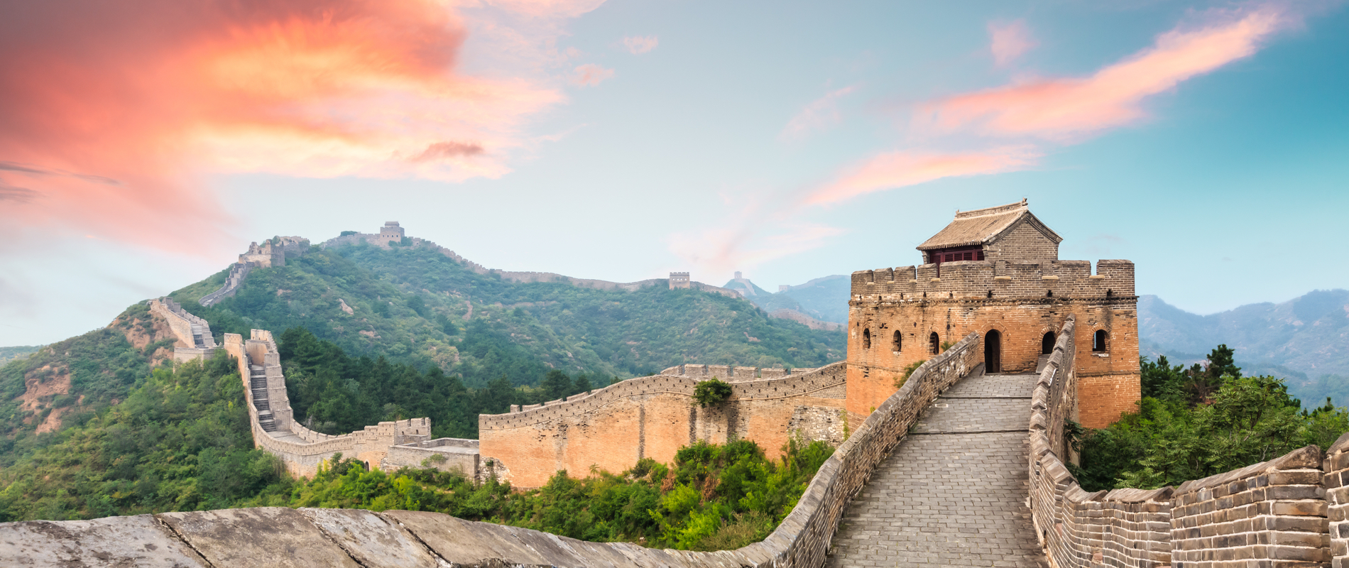 Beautiful view of the Great Wall of China amidst blue and pastel skies
